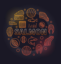 salmon round - colored fish vector image