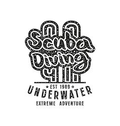 Scuba diving emblem in retro style vector