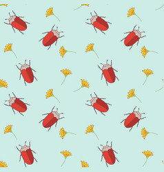 Seamless pattern with cut bugs and flowers vector