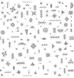 Seamless pattern with ethnic tribal symbols vector