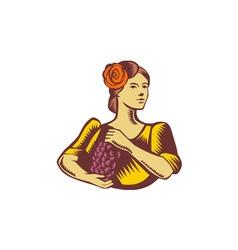 Senorita Holding Grapes Woodcut vector