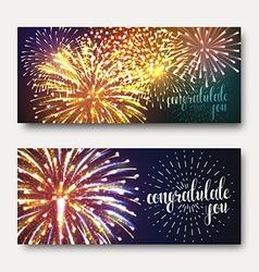 Set 2 brochures festive design with fireworks vector