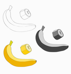 set banana and a piece of vector image