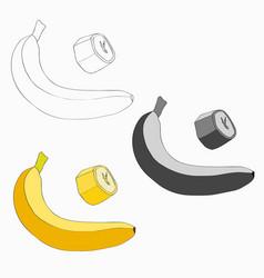 set banana and a piece of vector image