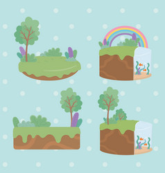set beautiful landscapes scenes vector image