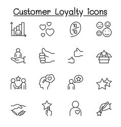 set customer loyalty line icons contains such vector image