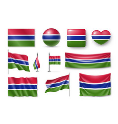 set gambia flags banners banners symbols vector image