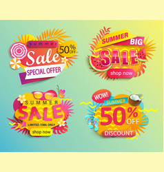 set summer sale and discounts stickers vector image