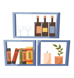 shelf with books wine bottles and wineglasses vector image