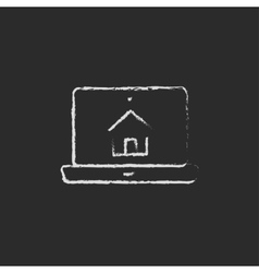 Smart house technology icon drawn in chalk vector