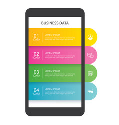 smartphone infographic template with 4 data vector image