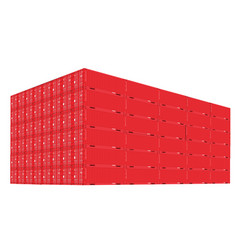 Stack of cargo containers with perspective view vector
