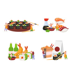 Sushi flat colored icon set vector