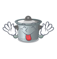 Tongue out cookware stock pot isolated on mascot vector