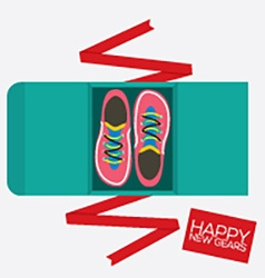 Top View Of Running Shoes Gift vector image