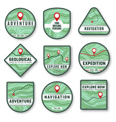 Topography navigation icons with topographic map vector