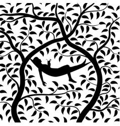 tree hammock silhouette vector image