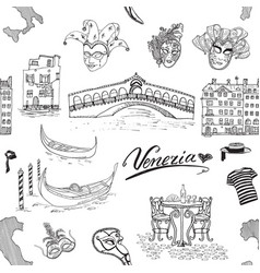 Venice italy seamless pattern hand drawn sketch vector