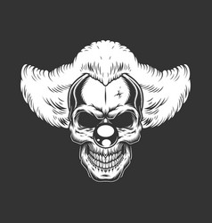 vintage monochrome creepy angry clown skull vector image