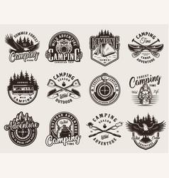 vintage monochrome outdoor recreation emblems vector image
