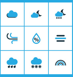 Weather colored icons set collection of blizzard vector