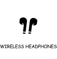 Wireless headphones flat icon vector