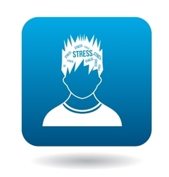 Word stress in the head of man icon vector
