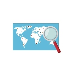 world map and loupe vector image
