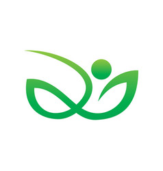 abstract leaf human eco nature logo vector image