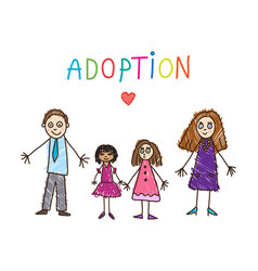 adoptive family kids drawing vector image vector image