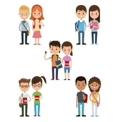 back to school collection couples students design vector image