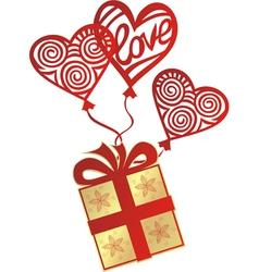 Gift love balloon vector image vector image