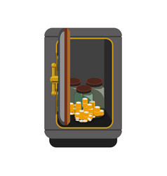 metal strong box with coins cash money and glass vector image vector image