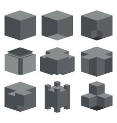 modern dark cube icons set vector image