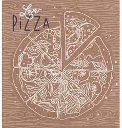 Poster love pizza brown vector image vector image