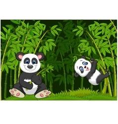 Cartoon mom and baby panda in the climbing bamboo vector image