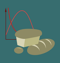 Flat icon on stylish background bread chart vector