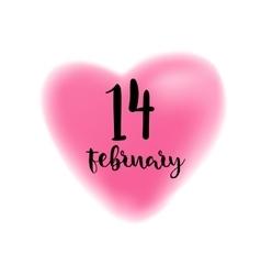Fourteenth February lettering on heart vector image