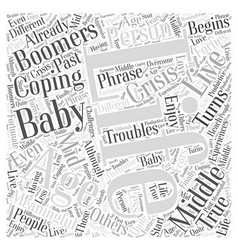 Middle aged baby boomers word cloud concept vector