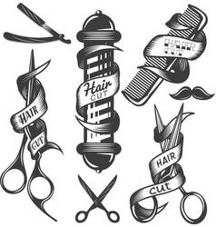 set of hair salon labels in vintage vector image vector image