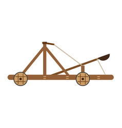 catapult medieval icon isolated wooden old war vector image vector image