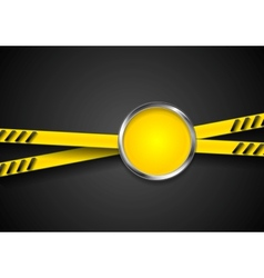 Danger tape abstract background with metal circle vector image