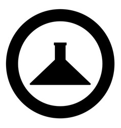 flask icon black color in circle vector image