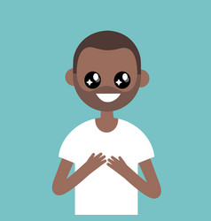 portrait of young black character with big anime vector image vector image