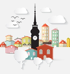 Abstract Paper Cut Flat Design Town with Tow vector image