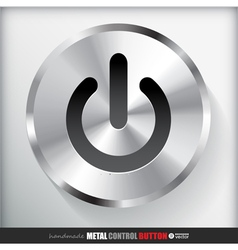 Circle metal start power button vector