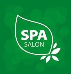 logo leaves on green background vector image vector image
