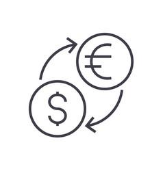 money exchangedollar euro line icon sign vector image vector image