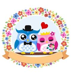 owl floral wedding card vector image vector image