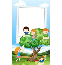 Paper template with children reading book vector image vector image